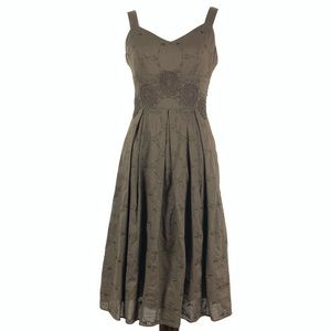 Talbots petites dress size to P brown embroidered